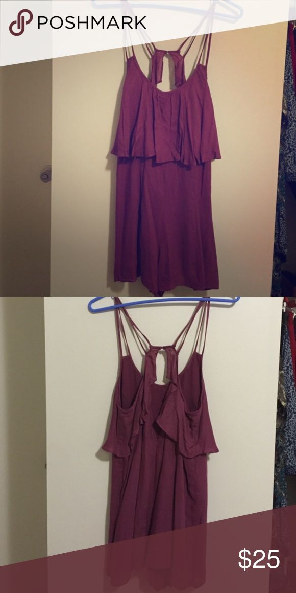 Urban Outfitters strappy layered romper Kimchi Blue brand from Urban, strappy purple/maroon colors romper, flowy and layered at top, loose fitting yet slimming, size medium Kimchi Blue Pants Jumpsuits & Rompers