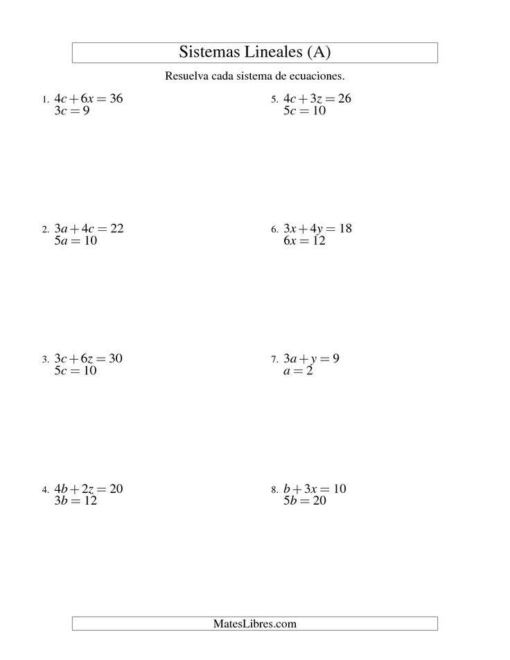 Resolver Sistemas de Ecuaciones Lineales Sencillos de dos Variables sin Valores Negativos (A) #mateslibres