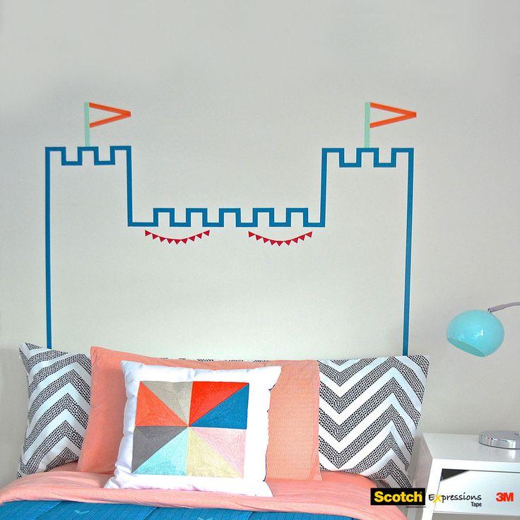 masking-washi-tape-wall-decor-bed-headboard-castle-diy