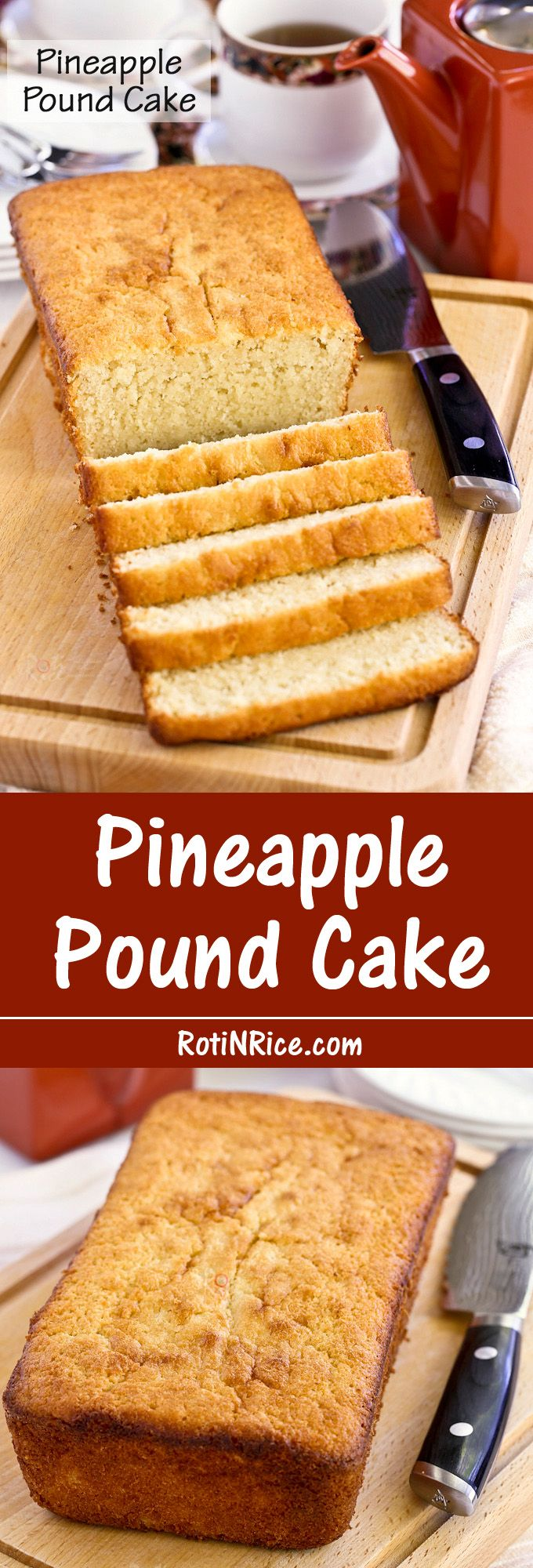 This Pineapple Pound Cake is made with pineapple puree for a finer and smoother textured pineapple cake. It is deliciously moist and tender. | Food to gladden the heart at RotiNRice.com