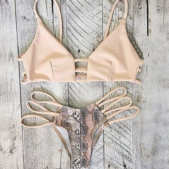 Beautiful Strap Trendy Beige Swimsuit Bikini