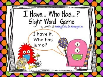 Fun Monster themed I have...Who has? sight word game. Perfect for Halloween!