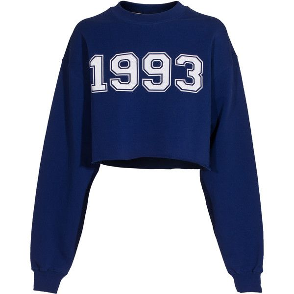 MSGM 1993 Electric Blue Cropped Sweatshirt found on Polyvore