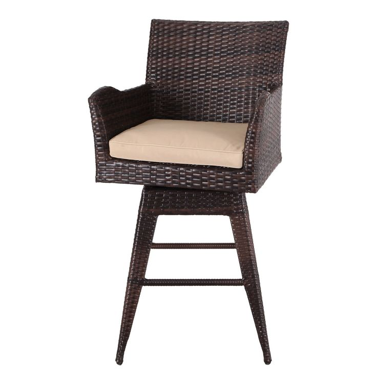 Adeco Patio Furniture Set Wicker Barstools with