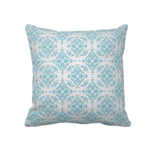 Teal Blue Throw Pillow : Aqua Teal Blue and Silver Damask Throw Pillow Throw pillows, Teal blue and Aqua