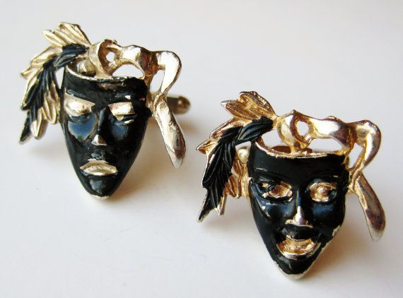 Vintage 50s Comedy & Tragedy Theater Actor Gold by SoCalJewelBox, $32.00