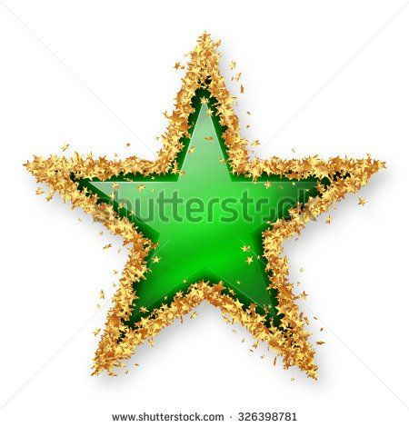 http://rubies.work/0285-sapphire-ring/ Smaragd Green Coloured Gemstone Star with Spangled Golden Starlet Border. White Background with Smooth Shadow