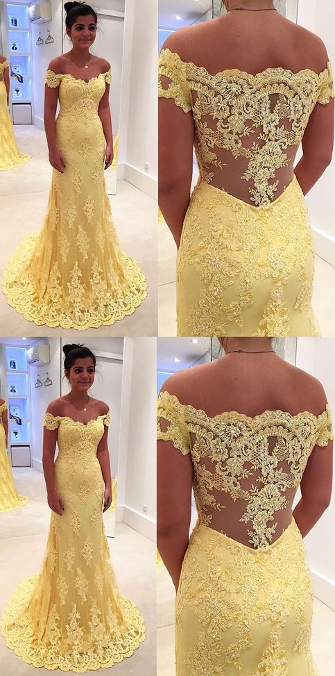 Mermaid/Trumpet Evening Prom Dresses Long Yellow Dresses With Side Zipper Lace Sweep Train Magnificent Prom Dresses G228#prom #promdress #promdresses #longpromdress #promgowns #promgown #2018style #newfashion #newstyles #2019newprom #eveninggown #mermaid #yellow #offshoulder #sidezipper #lace
