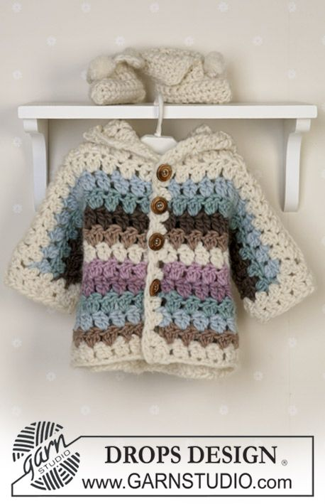 DROPS Baby 14-25 - Crochet jacket, booties and blanket in Eskimo - Free pattern by DROPS Design