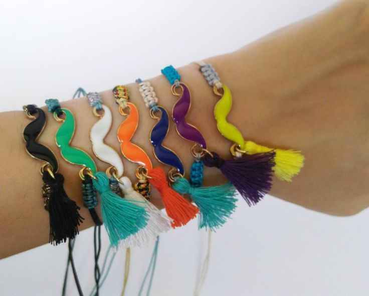 Braiided bracelet. Charm bracelet. Tassel bracelet. Colourful bracelet. Summer bracelet. Mustache bracelet. Braided bracelet. Stack bracelet by MeliesTreasures on Etsy