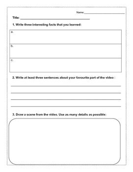 This is a great sheet to give to students while they are watching a documentary, or educational video/movie of some sort. Instead of having the children solely focusing on the movie and not writing anything down, have them work on this. I've used this while subbing several times.