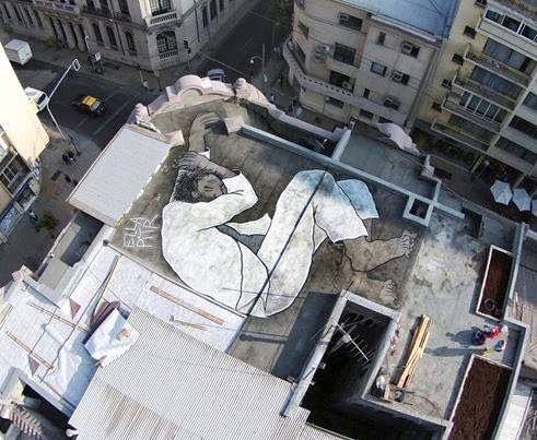 Streetart by ELLA & PITR.... The Santiago's sleeper | by Ella & Pitr (French Street Artists) - Upon the Clinic Bar's roof in Santiago, Chili.