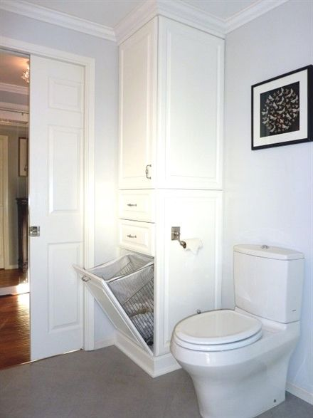 hidden hamper or perhaps laundry chute bathroomstorage rh pinterest com