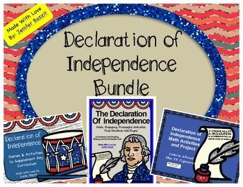 Bring the Declaration of Independence to life in your classroom! Buy the bundle and SAVE! This bundle contains 3 excellent products: Declaration of Independence- Common Core Reading, Writing, and SS Unit Declaration of Independence- Games and Activities to Supplement Any Curriculum Declaration of Independence Math Activities and Project- Learn about the Signers