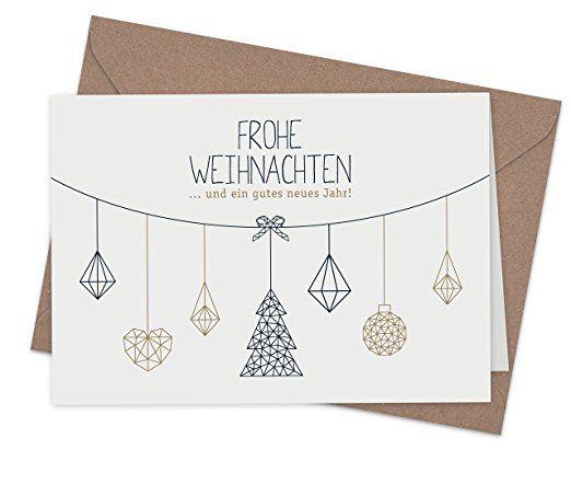 """20 Karten & 20 Umschläge: Moderne, schlichte Klappkarten """"Nordische Weihnacht"""", DIN A6, matter Natur-Karton mit Blanko-Innenseiten für Weihnachtsgrüße an Familie, Freunde, Kunden"""