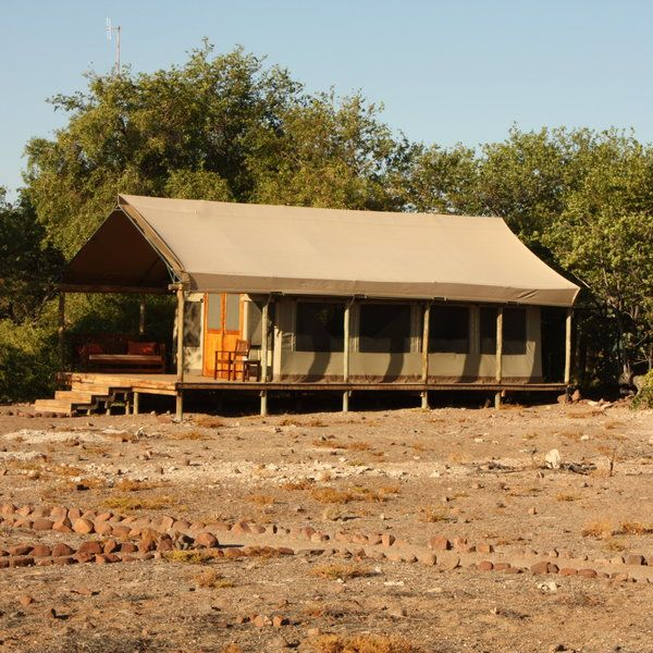 The camp has 8 walk-in meru-style tents...