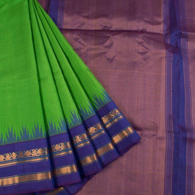 Handwoven Green Gadwal Kuttu Silk Saree With Temple Border 10019120 - AVISHYA.COM