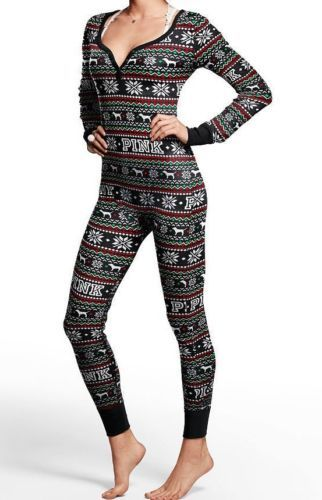 0fbd22e49890 VICTORIAS SECRET PINK Thermal Henley Long Jane Jumpsuit Pajamas Black  FairIsle S