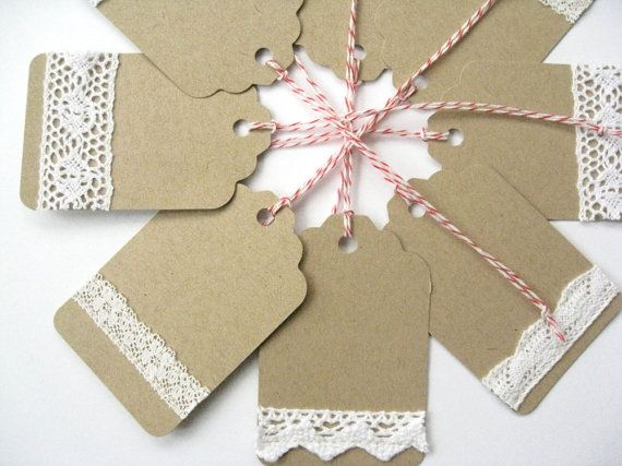 8 handmade gift tags Wedding favor tags holiday by RosyBluVintage, .95 DIY - Add lace ribbon to brown cardstock. CUTE