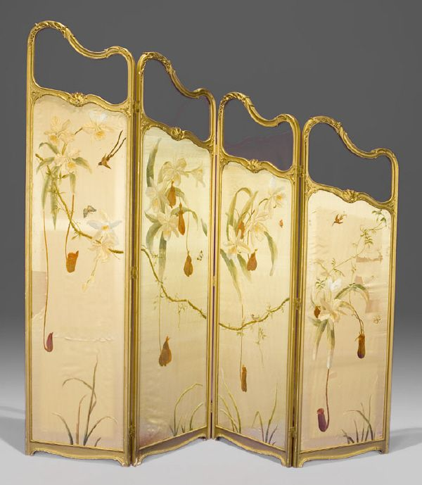 Art Nouveau Flowers & Sunbirds Dressing Screen. Carved & Gilt Wood with Painted Silk Fabric. France. Circa 1900.