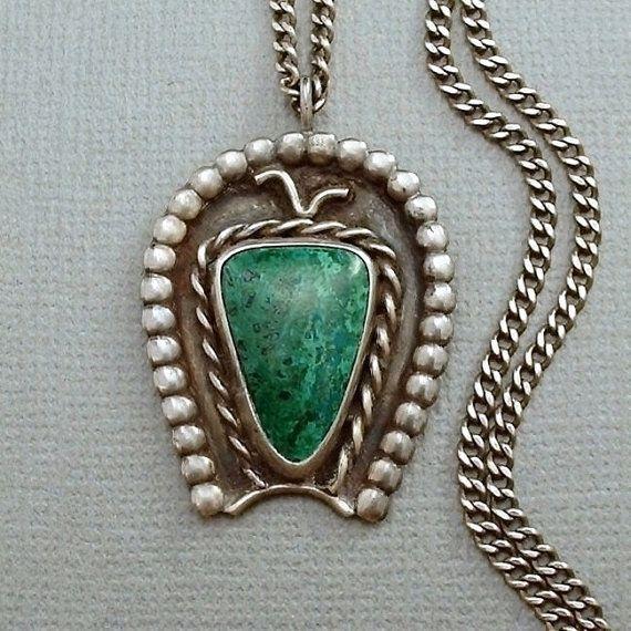 "OLD PAWN Vintage Native American Navajo Necklace Fred Harvey Era PENDANT Handmade, Chrysocolla Gemstone, 22"" Sterling Silver Chain c.1930s #DifferenceMakesUs #NativeAmericanNaja #FredHarvey"