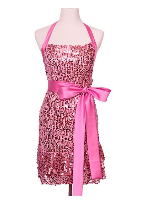 "Look haute and glamourous while cooking or hosting a party in the pink sequin ""Glamour Girl"" signature apron!"