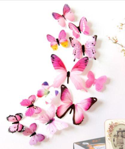 Butterfly-Wall-Sticker-PVC-3D-DIY-Art-Decor-Home-Room-Birthday-Pink-12-pcs