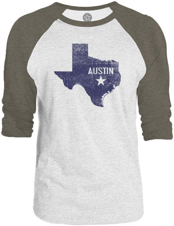Big texas austin texas 3 4 sleeve raglan baseball t shirt for Texas baseball t shirt