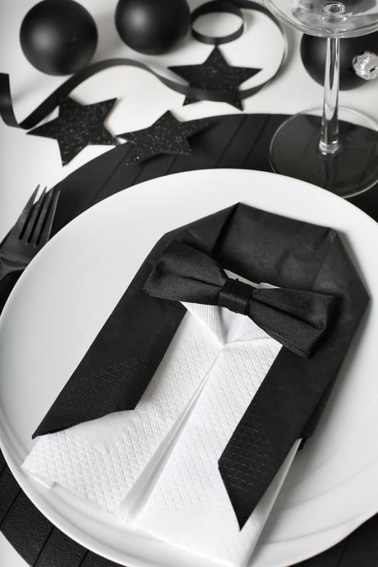 DIY Suit and bow tie place settings