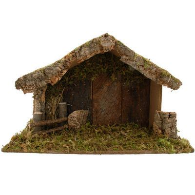 "Handcrafted in Italy, this large wooden nativity stable is filled with rustic details that include a moss roof and floor and an inner fence made of twigs. Measuring 12½"" tall x 19½"" wide x 8"" deep, this exceptionally well made stable is the perfect stage for your favorite nativity figures!"