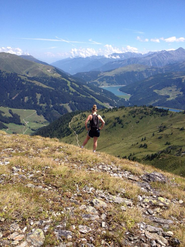 Enjoying the view after hiking to the top of Isskogel, Austria