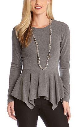 Super Slimming Dark Heather Grey Pumplu Top #Slimming #Dark #Heather #Grey #Handkerchief #Peplum #Top #Slimming #Fashion
