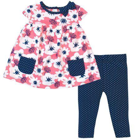 Gerber Baby Toddler Girl Cap Sleeve Babydoll Tunic & Leggings, 2pc Set