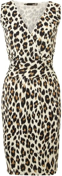 LOVE Moschino Sleeveless Leopard Print Wrap Dress