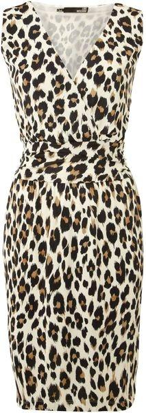 LOVE Moschino Sleeveless Leopard Print Wrap Dress