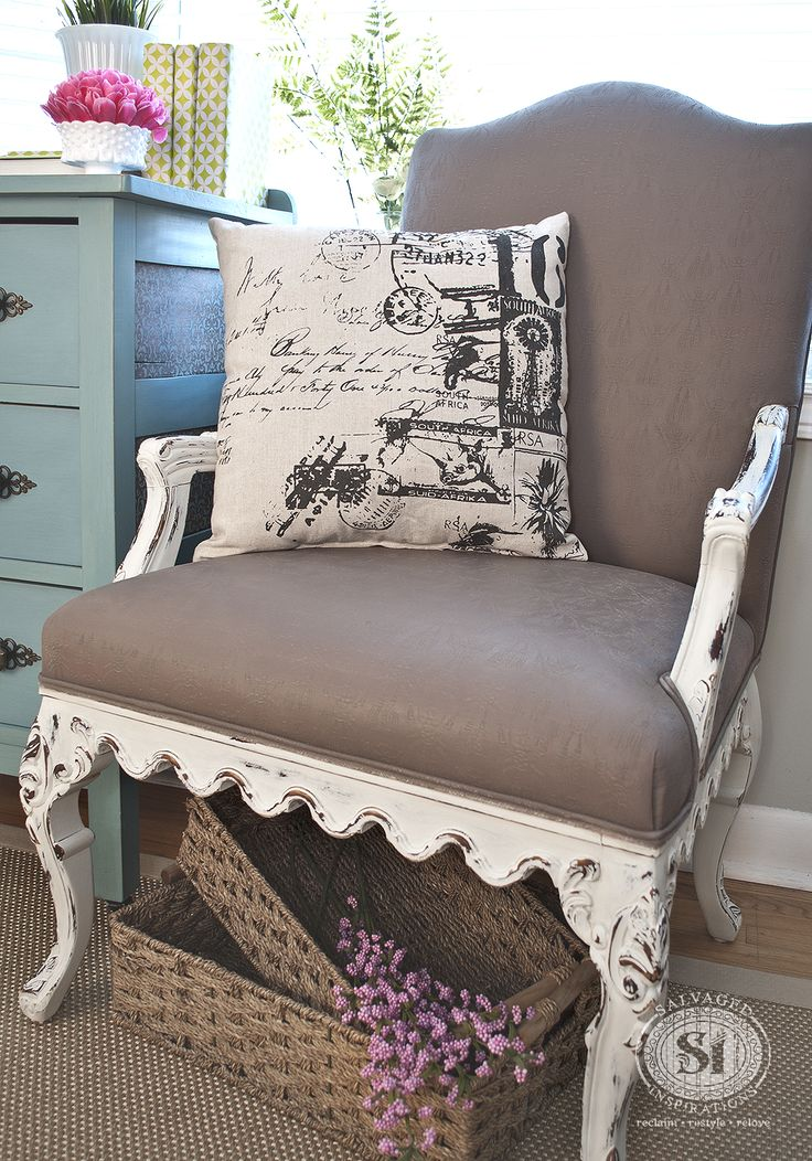 """Last week I posted the Before of my road rescued """"Granny Chair Project"""" and I'm so excited to share the results! This was my first time Painting Fabric with Chalk Style Paints...easier than I thought!"""