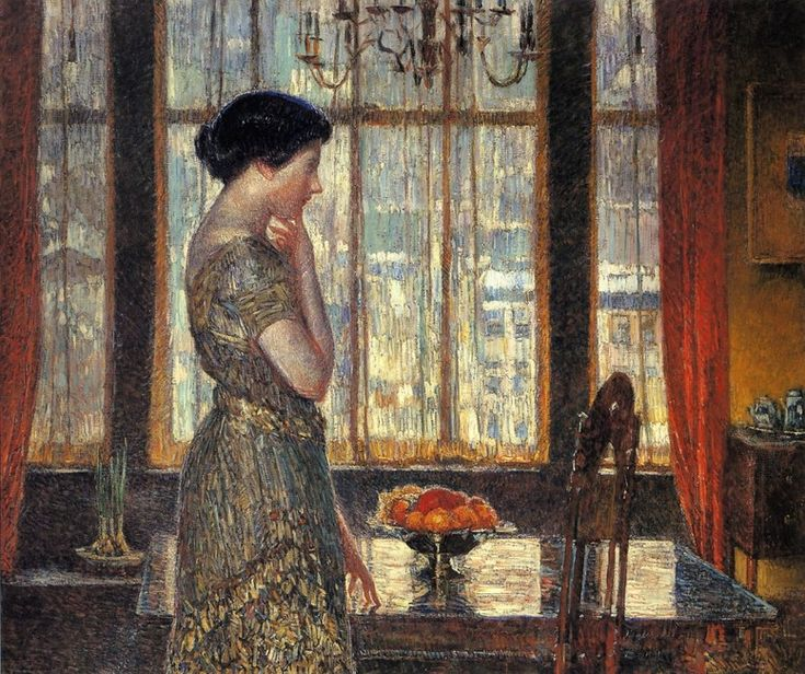 """New York Winter Window""  Frederick Childe Hassam  Oil"