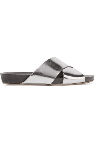 ATP Atelier - Doris Metallic Leather Slides - Silver - IT41