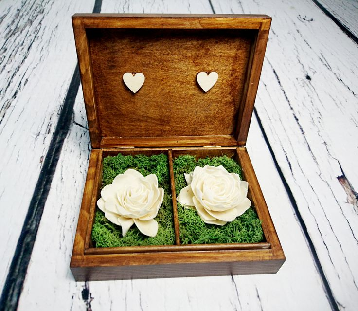 Wedding rings box vintage puzzle love wedding pillow rustic looking old moss sola flowers shabby chic brown hearts distressed - pinned by pin4etsy.com