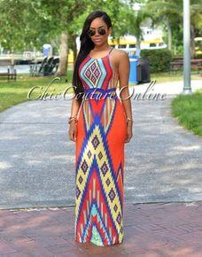 Shayra Orange Multi-Color Aztec Print Maxi Dress
