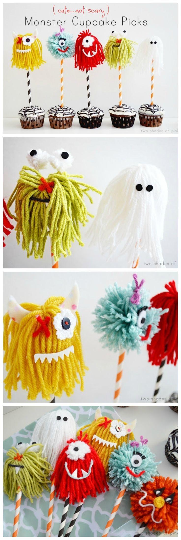 Monster Cupcake Picks   Cutest Halloween Crafts!