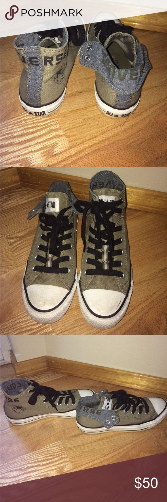 High-Low Converse Olive green Converse. In great condition! You can switch these into high-tops and low-tops. Please feel free to make an offer, ask for styling tips, and any questions. Happy to help. I wear a 5 in men's, 7.5-8 in women's and these fit perfectly. Thank you!!! -K Converse Shoes Sneakers