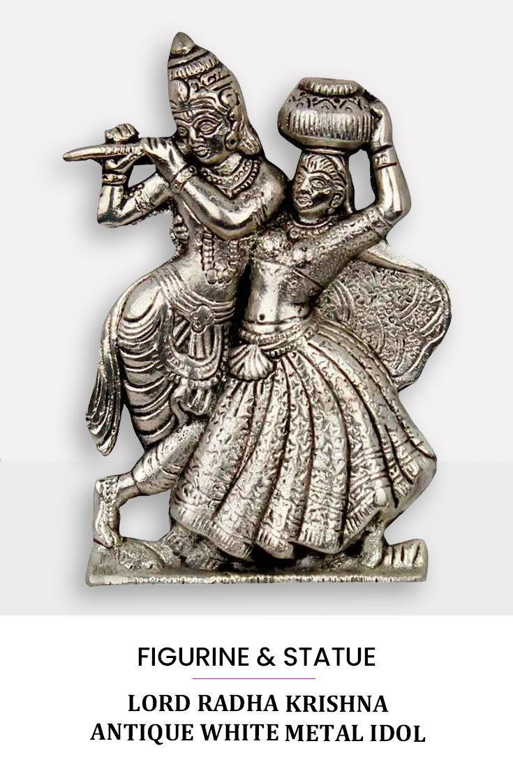 This Handcrafted Antique Idol Of Lord Krishna With Radha Is Made