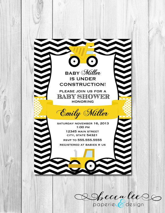 Construction Baby Shower Invitation  Chevron by BeccaLeePaperie, $14.00