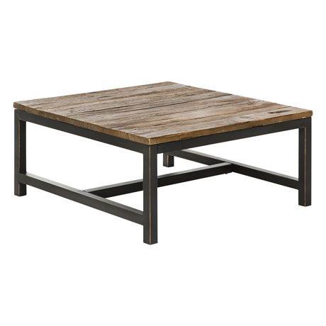 Wharf Coffee Table 90x90cm Recycled Elm Natural/Black