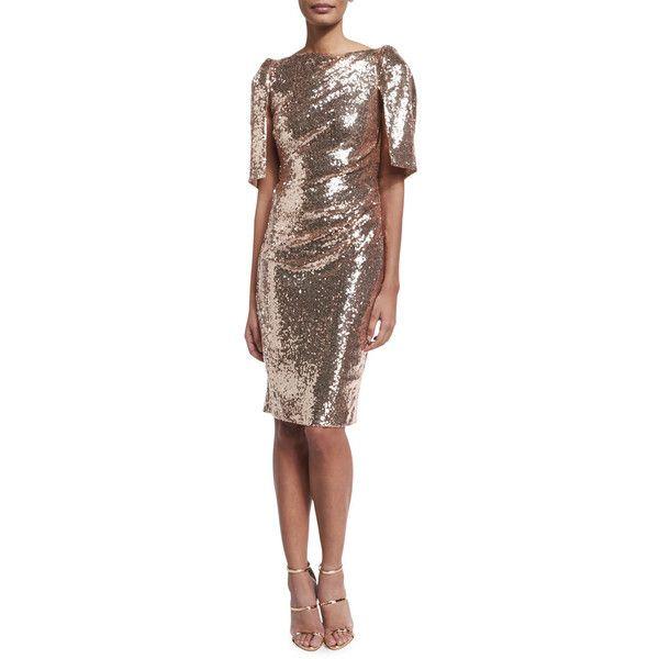 Talbot Runhof Lobata Cape-Sleeve Sequined Sheath Cocktail Dress (7,105 SAR) ❤ liked on Polyvore featuring dresses, brown, sleeved dresses, short-sleeve dresses, sequin dress, brown dress and sequin sheath dress