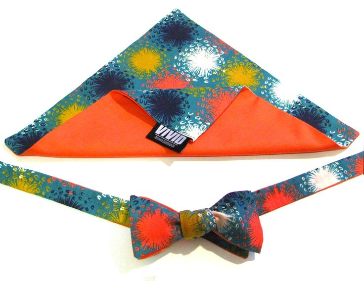 Hot Orange Self-tie Bow Tie and Pocket Square set | $37.04