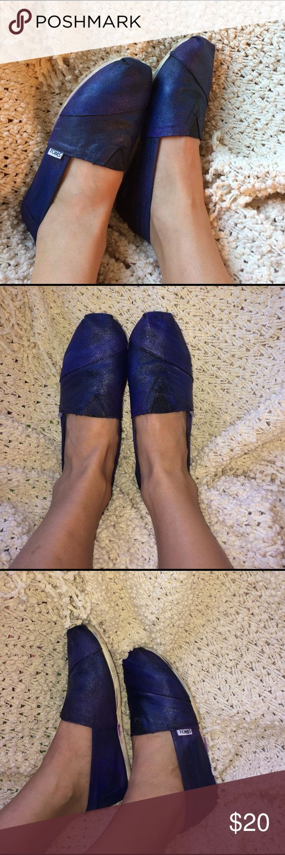 Galaxy Toms Hand painted galaxy Toms. Size W9. Worn a few times. TOMS Shoes Flats & Loafers