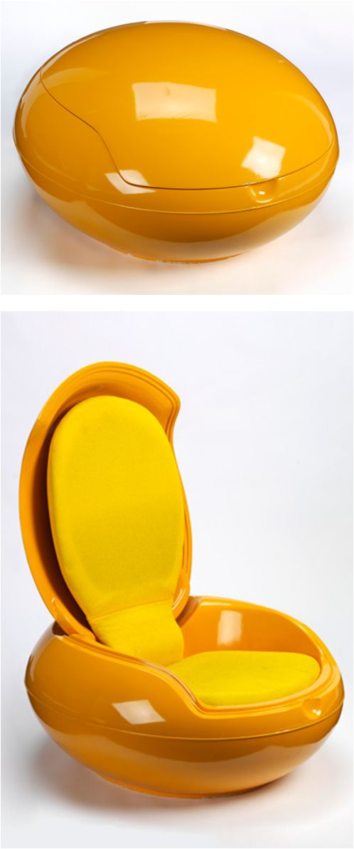Garden Egg Chair: Designed by Hungarian Peter Ghyczy, 1967-8. Features typical of period: Space age design, UFO-like form, Bright color plastic lacquer, Portability, Informal lounging / V & A