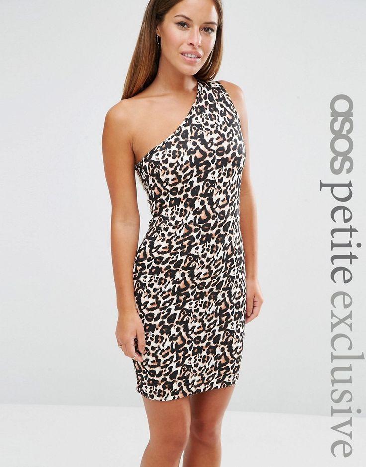 Image 1 of ASOS PETITE One Shoulder Mini Dress in Animal Print